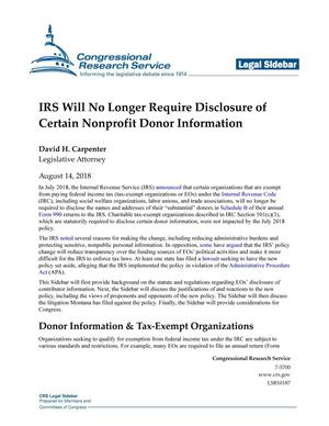 Primary view of object titled 'IRS Will No Longer Require Disclosure of Certain Nonprofit Donor Information'.