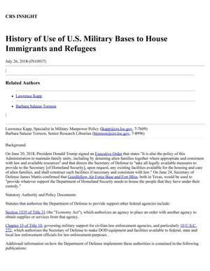 Primary view of object titled 'History of Use of U.S. Military Bases to House Immigrants and Refugees'.