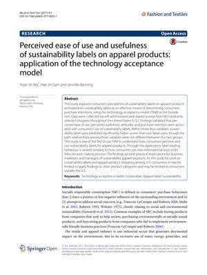 Perceived ease of use and usefulness of sustainability labels on apparel products: application of the technology acceptance model