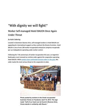 """With dignity we will fight!"" Worker Self-managed Hotel BAUEN Once Again Under Threat"
