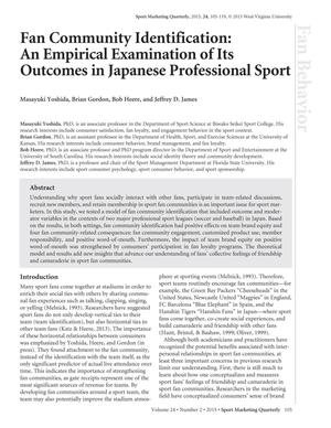 Fan Community Identification: An Empirical Examination of Its Outcomes in Japanese Professional Sport