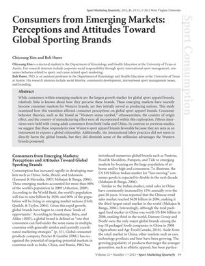 Consumers from Emerging Markets: Perceptions and Attitudes Toward Global Sporting Brands