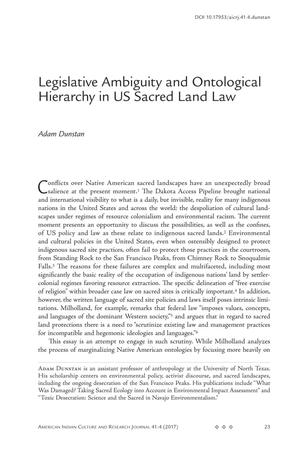 Legislative Ambiguity and Ontological Hierarchy in US Sacred Land Law