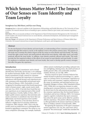 Which Senses Matter More? The Impact of Our Senses on Team Identity and Team Loyalty