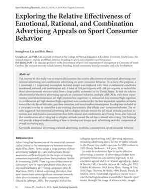 Primary view of object titled 'Exploring the Relative Effectiveness of Emotional, Rational, and Combination Advertising Appeals on Sport Consumer Behavior'.