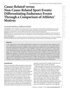 Cause-Related versus Non-Cause-Related Sport Events: Differentiating Endurance Events Through a Comparison of Athletes' Motives