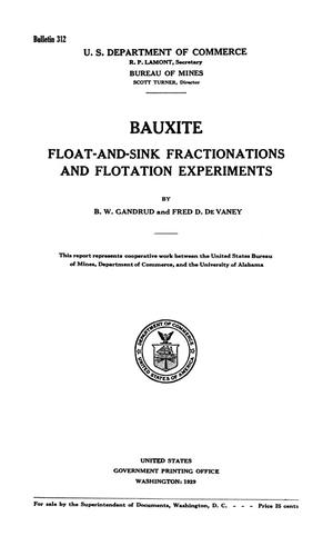 Bauxite: Float-and-Sink Fractionations and Flotation Experiments