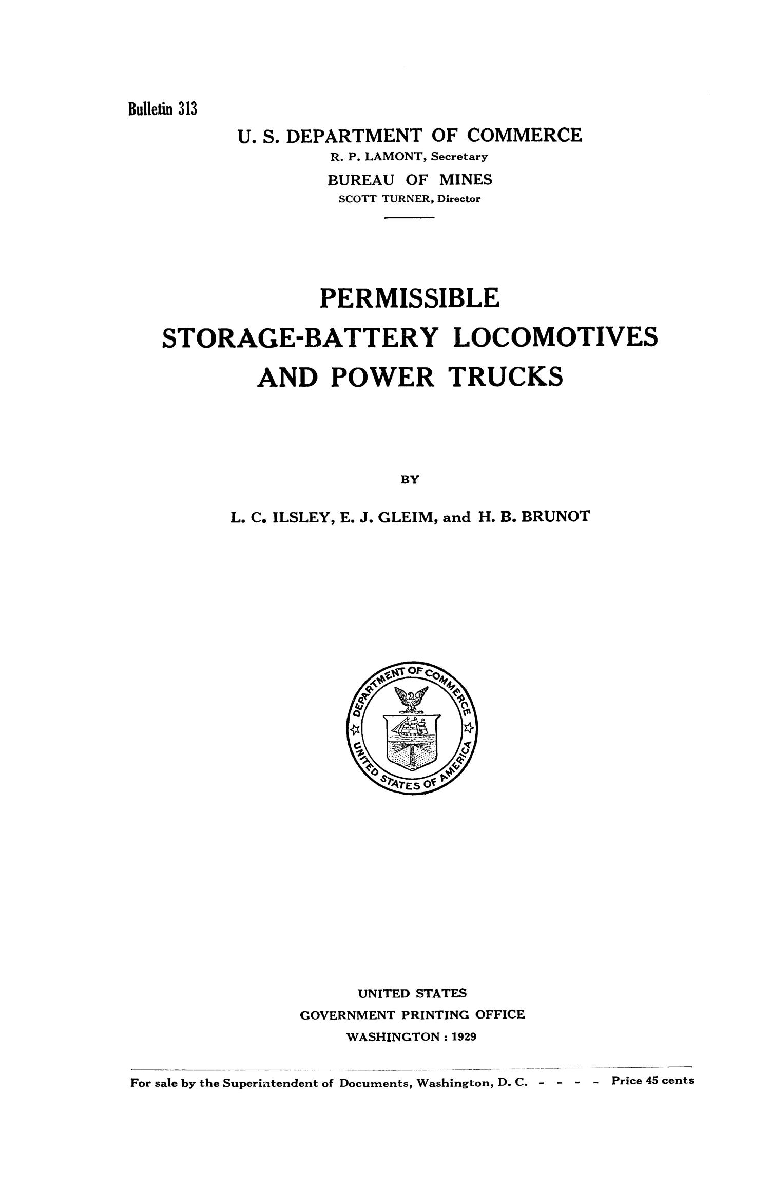 Permissible Storage - Battery Locomotives and Power Trucks                                                                                                      I