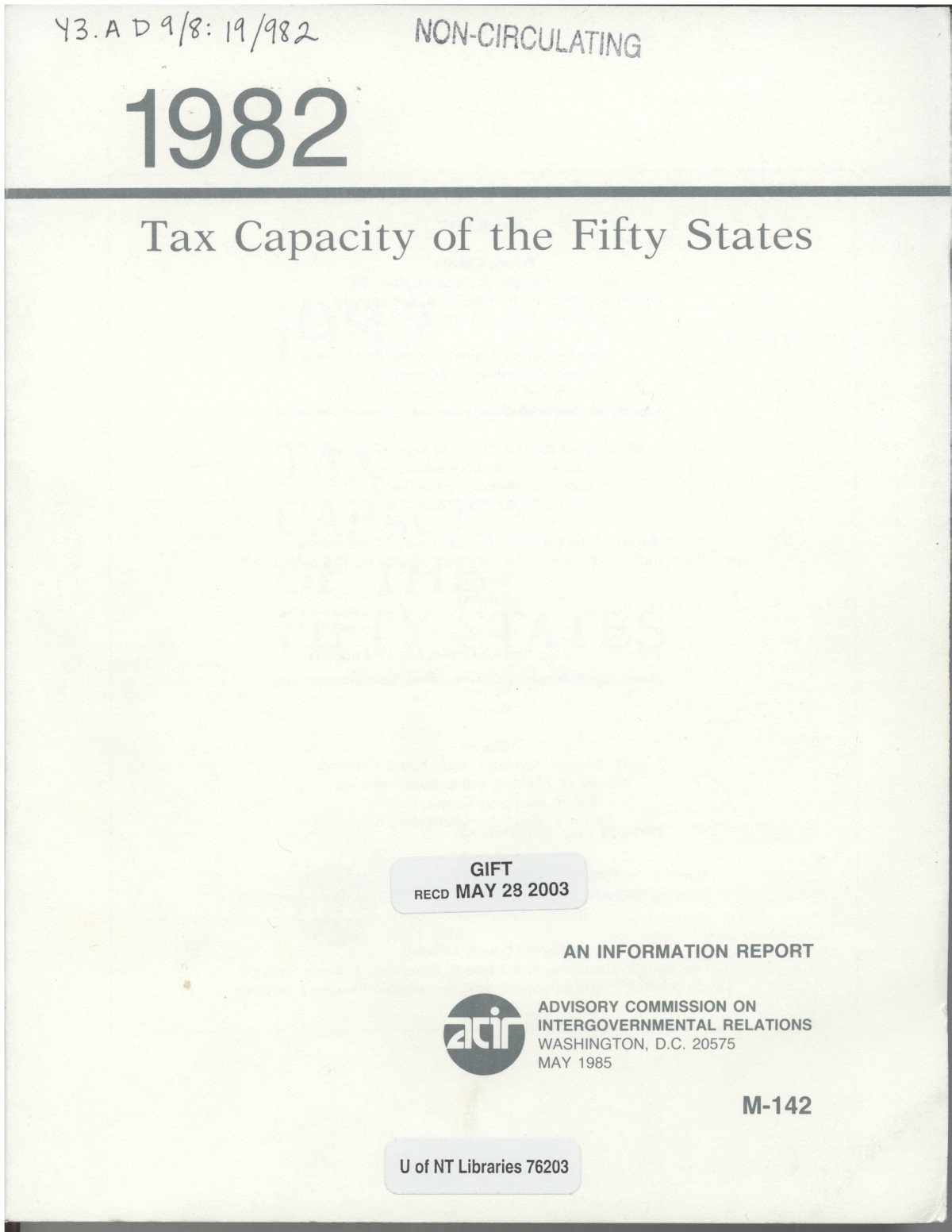 Tax Capacity of the Fifty States, 1982                                                                                                      FC