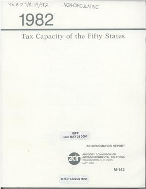 Primary view of object titled 'Tax Capacity of the Fifty States, 1982'.