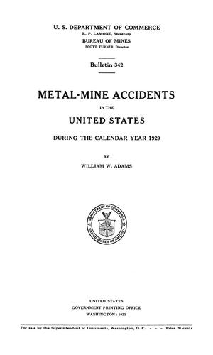 Primary view of object titled 'Metal-Mine Accidents in the United States During the Calendar Year 1929'.