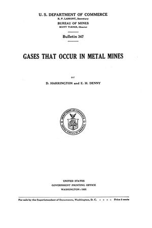 Primary view of object titled 'Gases that Occur in Metal Mines'.