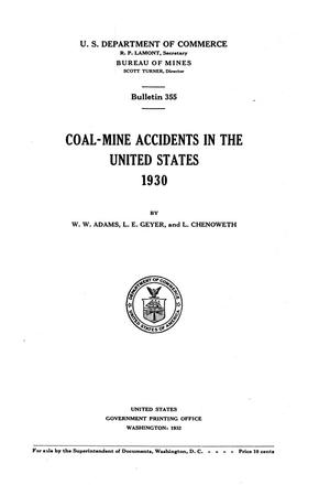 Primary view of object titled 'Coal-Mine Accidents in the United States, 1930'.