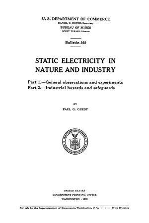 Primary view of object titled 'Static Electricity in Nature and Industry'.