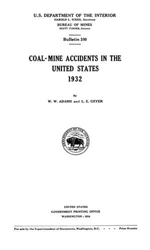 Primary view of object titled 'Coal-Mine Accidents in the United States, 1932'.