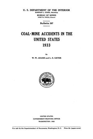 Primary view of object titled 'Coal-Mine Accidents in the United States, 1933'.