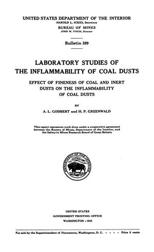 Primary view of object titled 'Laboratory Studies of the Inflammability of Coal Dusts: Effect of Fineness of Coal and Inert Dusts on the Inflammability of Coal Dusts'.
