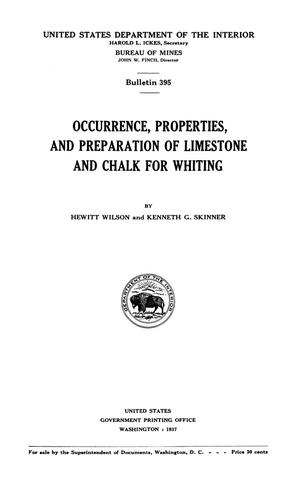 Primary view of object titled 'Occurrence, Properties, and Preparation of Limestone and Chalk for Whiting'.
