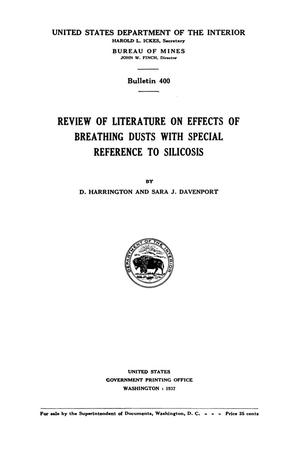 Primary view of Review of Literature on Effects of Breathing Dusts with Special Reference to Silicosis
