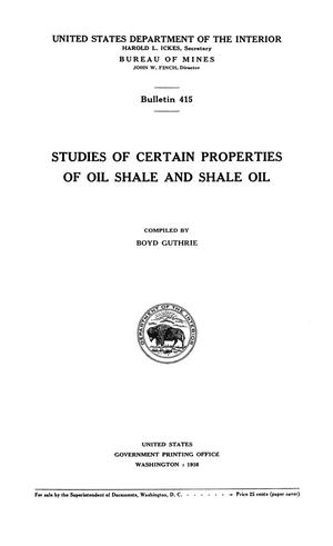 Primary view of object titled 'Studies of Certain Properties of Oil Shale and Shale Oil'.
