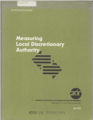 Primary view of object titled 'Measuring local discretionary authority'.