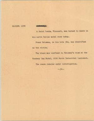 Primary view of object titled '[News Script: Weisman ]'.