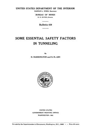 Primary view of object titled 'Some Essential Safety Factors in Tunneling'.