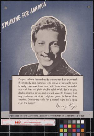 Primary view of object titled 'Speaking for America ... Danny Kaye.'.
