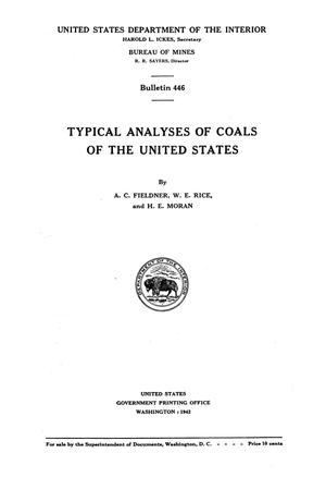 Primary view of object titled 'Typical Analyses of Coals of the United States'.
