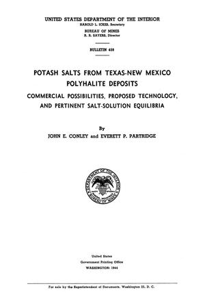 Primary view of object titled 'Potash Salts from Texas-New Mexico Polyhalite Deposits: Commercial Possibilities, Proposed Technology, and Pertinent Salt-Solution Equilibria'.