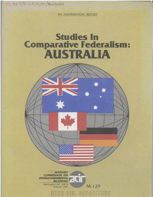 Primary view of object titled 'Studies in comparative federalism, Australia'.