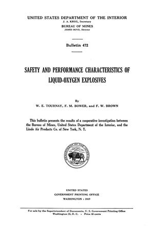 Primary view of object titled 'Safety and Performance Characteristics of Liquid-Oxygen Explosives'.