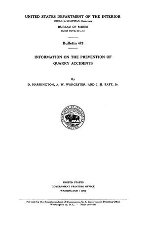 Primary view of object titled 'Information on the Prevention of Quarry Accidents'.