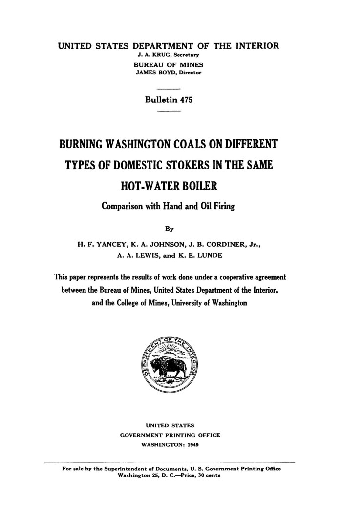Burning Washington Coals on Different Types of Domestic Stokers in ...