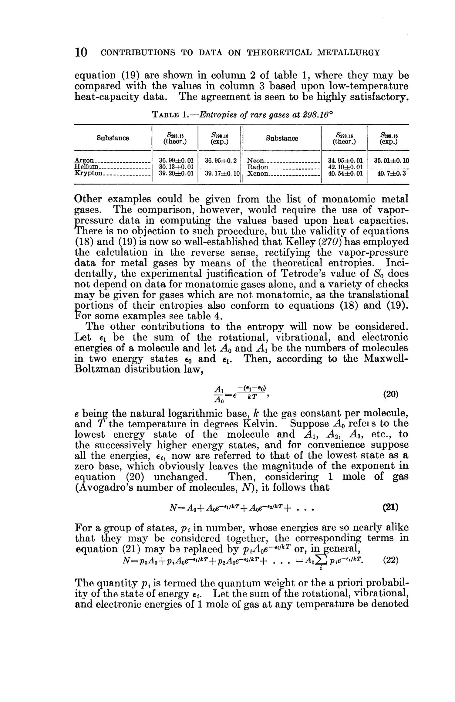 Contributions to the Data on Theoretical Metallurgy: [Part] 11. Entropies of Inorganic Substances: Revision (1948) of Data and Methods of Calculation                                                                                                      10