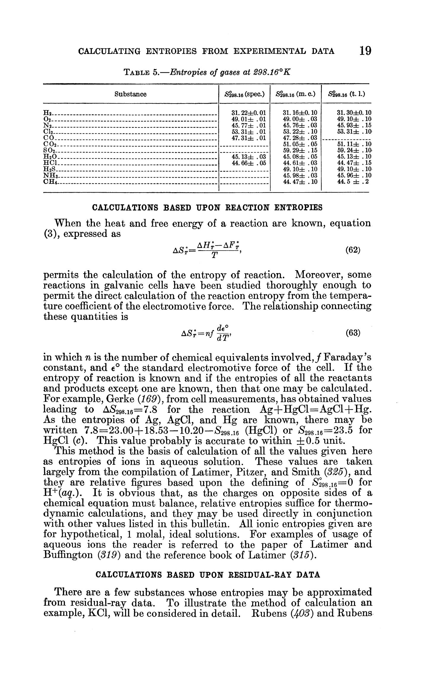 Contributions to the Data on Theoretical Metallurgy: [Part] 11. Entropies of Inorganic Substances: Revision (1948) of Data and Methods of Calculation                                                                                                      19