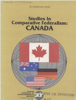 Primary view of object titled 'Studies in comparative federalism, Canada'.