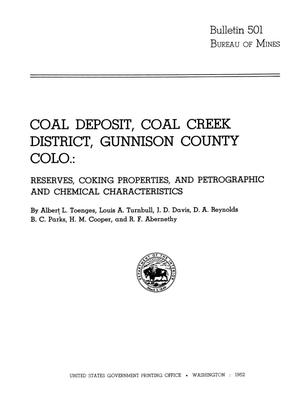 Primary view of object titled 'Coal Deposit, Coal Creek District, Gunnison County Colorado: Reserves, Coking Properties, and Petrographic and Chemical Characteristics'.
