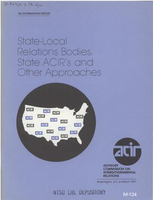 Primary view of object titled 'State-local relations bodies : state ACIRs and other approaches'.