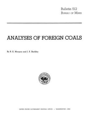 Primary view of object titled 'Analyses of Foreign Coals'.