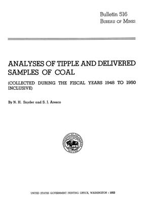 Primary view of object titled 'Analyses of Tipple and Delivered Samples of Coal: (Collected During the Fiscal Years 1948 to 1950 Inclusive)'.