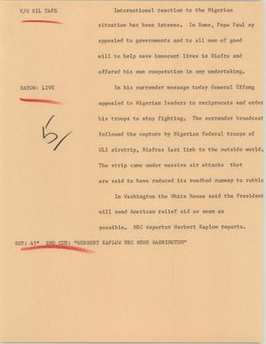 Primary view of object titled '[News Script: Nigerian civil war]'.