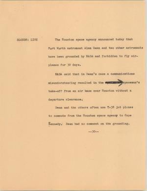 Primary view of object titled '[News Script: Astronauts grounding]'.