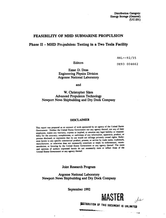 Feasibility of MHD submarine propulsion  Phase II, MHD