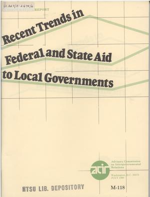 Primary view of object titled 'Recent trends in federal and state aid to local governments'.