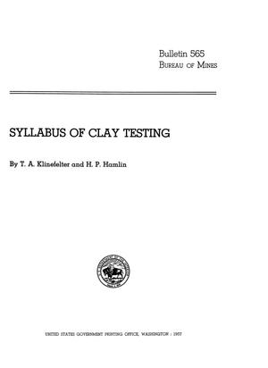 Primary view of object titled 'Syllabus of Clay Testing'.
