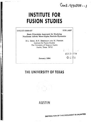 Basic principles approach for studying nonlinear Alfven wave-alpha particle dynamics