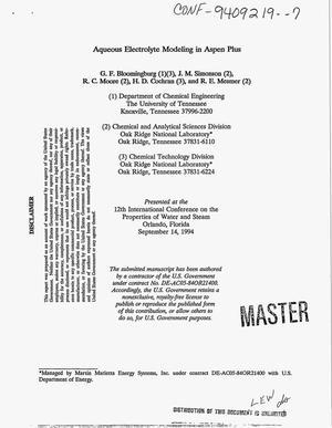 Aqueous electrolyte modeling in ASPEN PLUS{trademark}