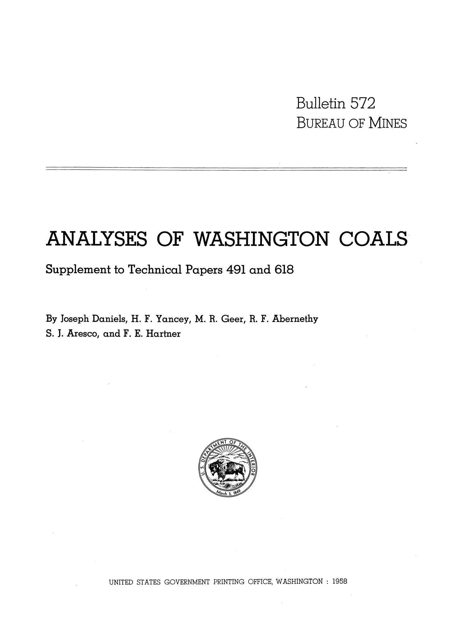 Analyses of Washington Coals: Supplement to Technical Papers 491 and 618                                                                                                      I