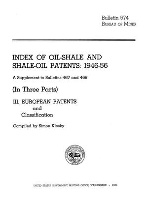 Primary view of object titled 'Index of Oil-Shale and Shale-Oil Patents, 1946-56: A Supplement to Bulletins 467 and 468: (In Three Parts) [Part 3]. European Patents and Classification'.